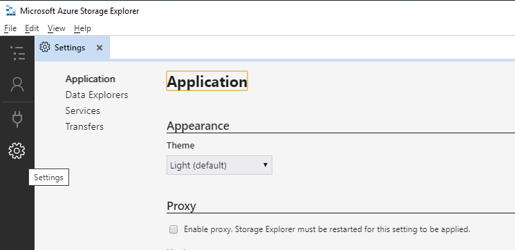 Settings for Azure Storage Explorer.