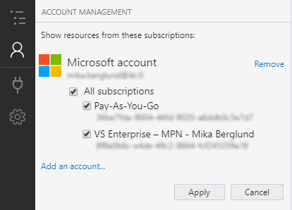 Select the Azure subscriptions you want to have available in Azure Storage Explorer