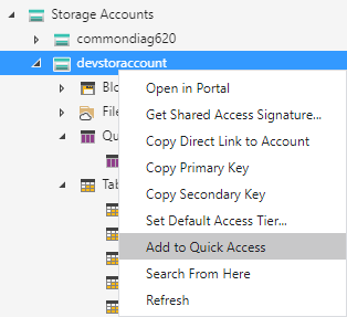Add storage account to Quick Access.