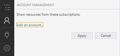 To add resources in Azure, select Manage Accounts / Add an account...