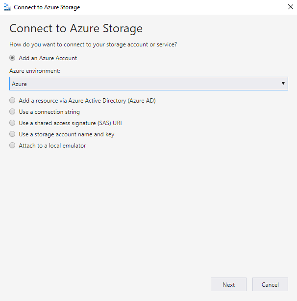 Select how you want to connect to the Azure resources.